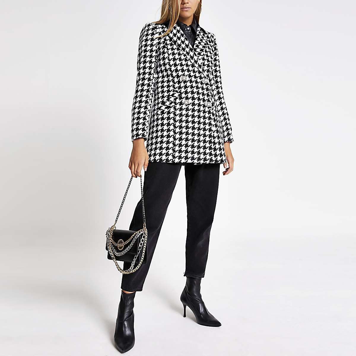 Zwarte double-breasted jas met pied-de-poule-print