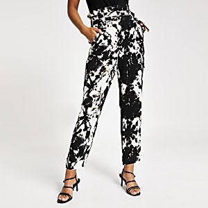 Black tie dye print trousers