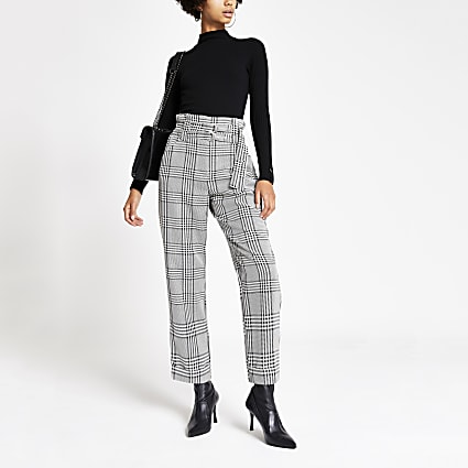 Black print belted peg trousers