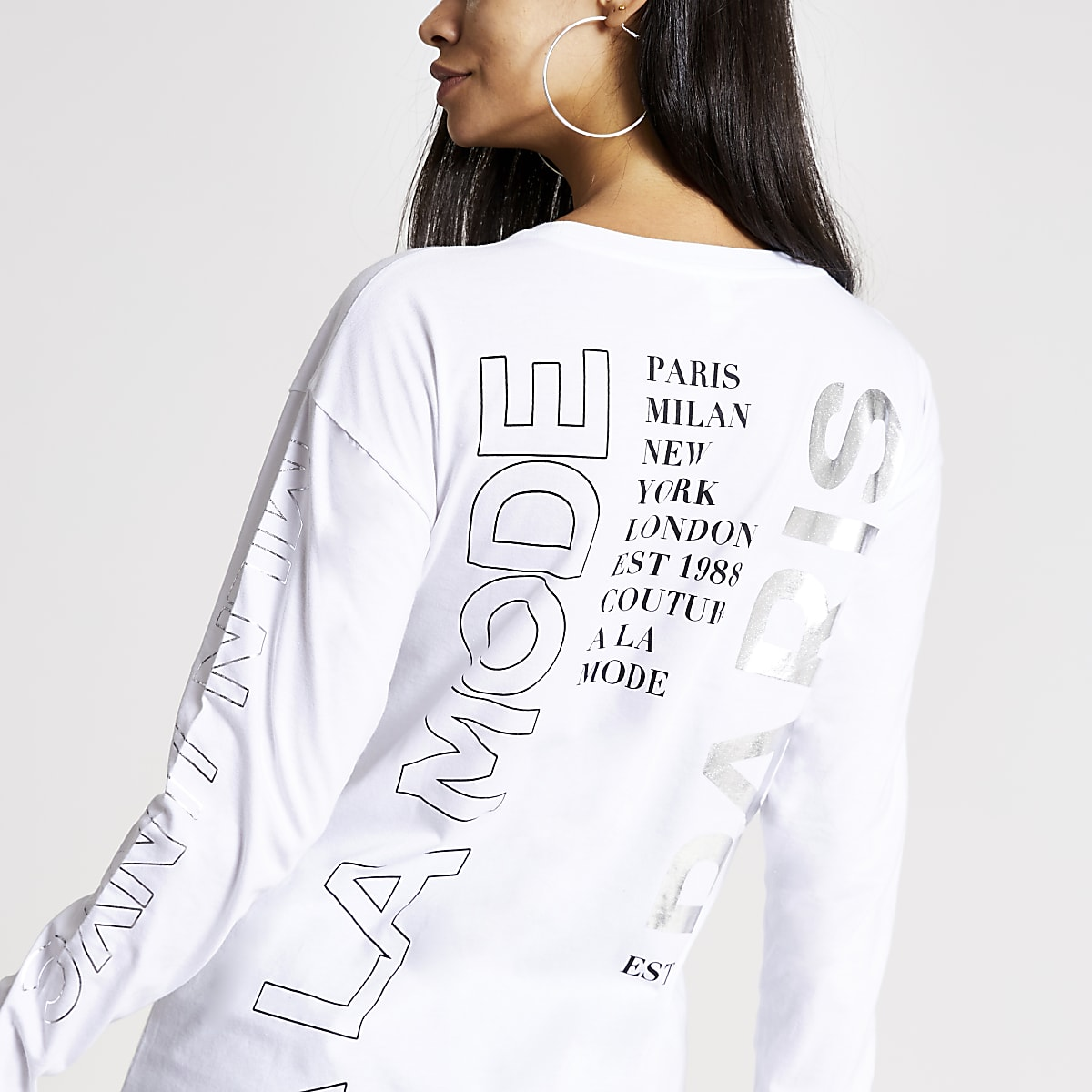 White 'A la mode' long sleeve T-shirt