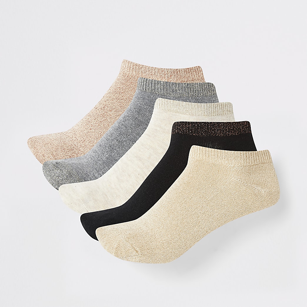 Gold mixed colour trainers socks 5 pack