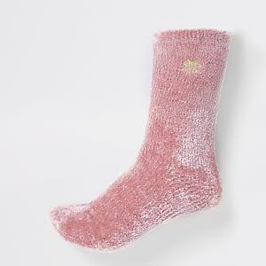 Pink RVR velvet fluffy slipper socks