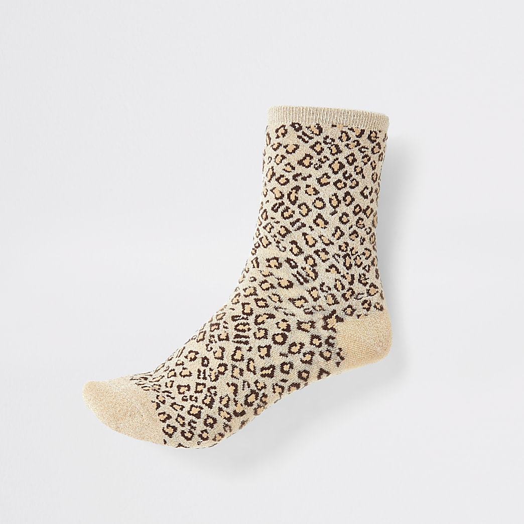 Brown glitter leopard print ankle socks