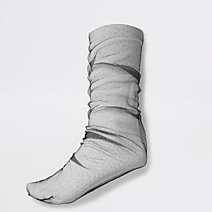 Zwarte mesh sokken met stippen