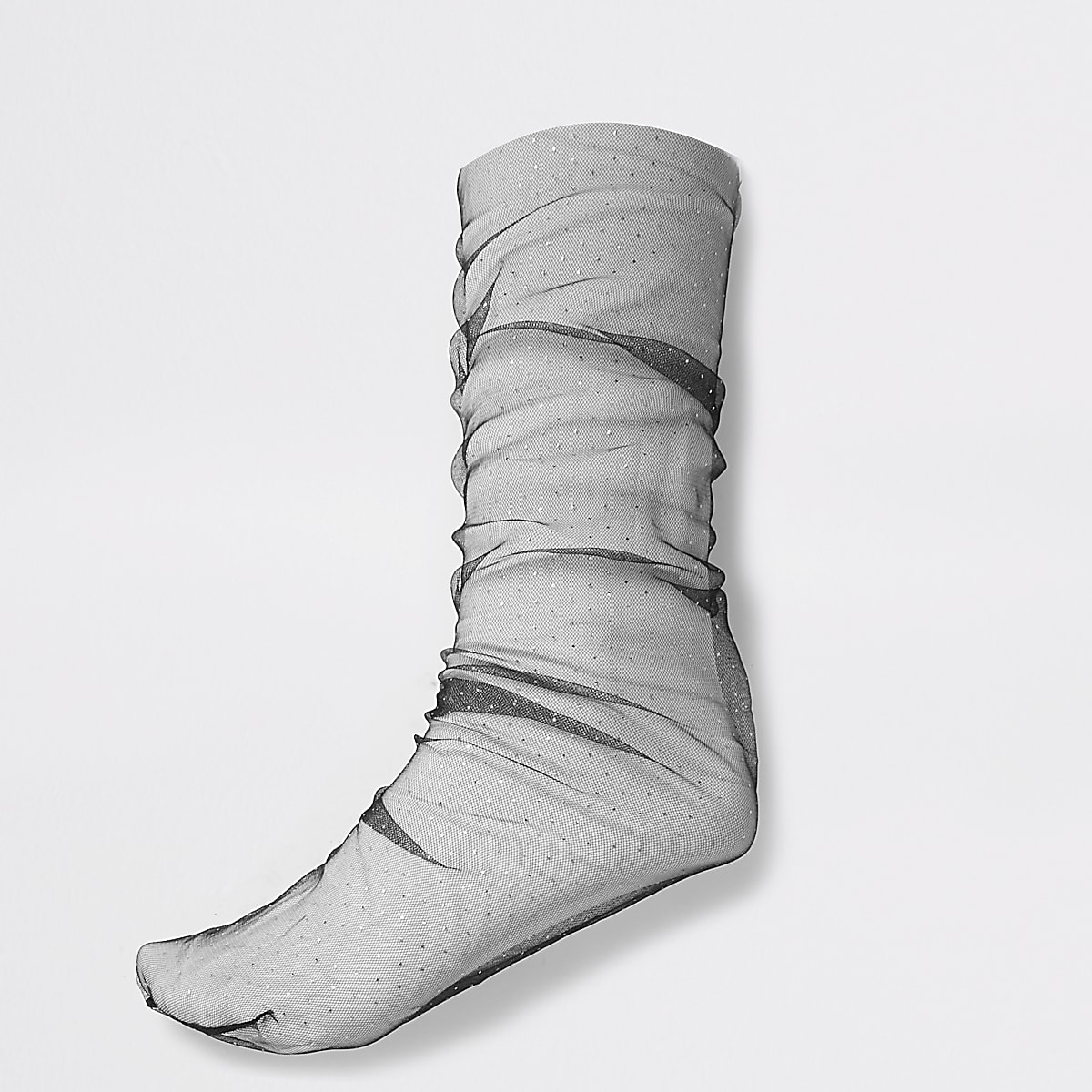 black mesh polka dot ankle socks