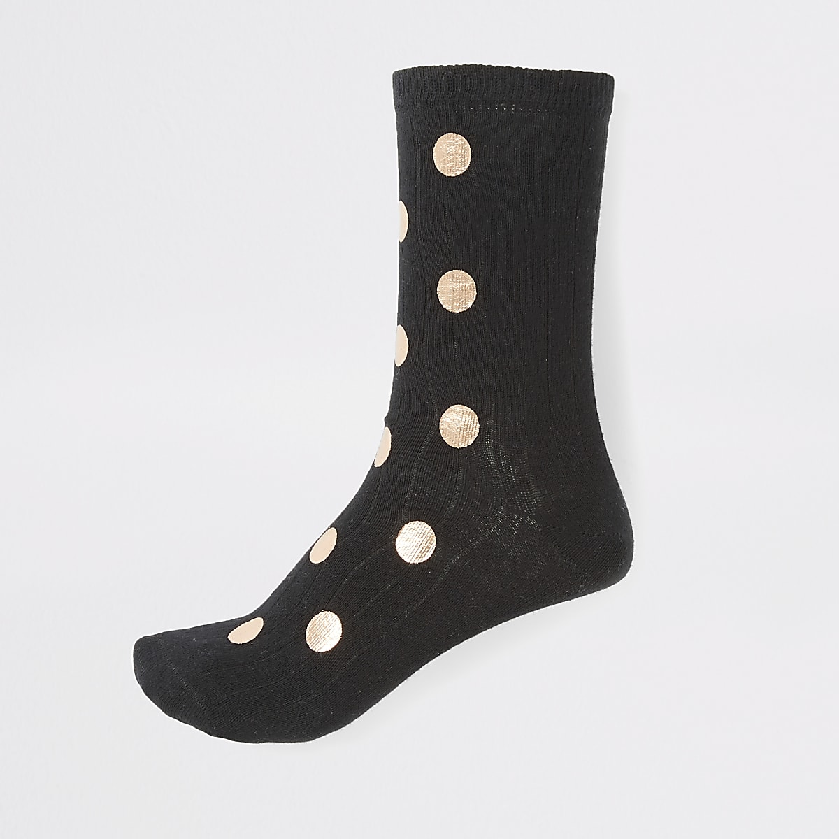 Black foil polka dot printed ankle socks