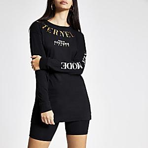 T-shirt noir imprimé métallisé à manches longues