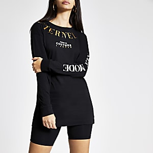 Zwart T-shirt met folieprint en lange mouwen