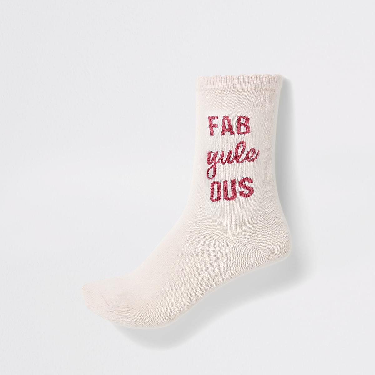 Pink 'Fab yule us' ankle socks