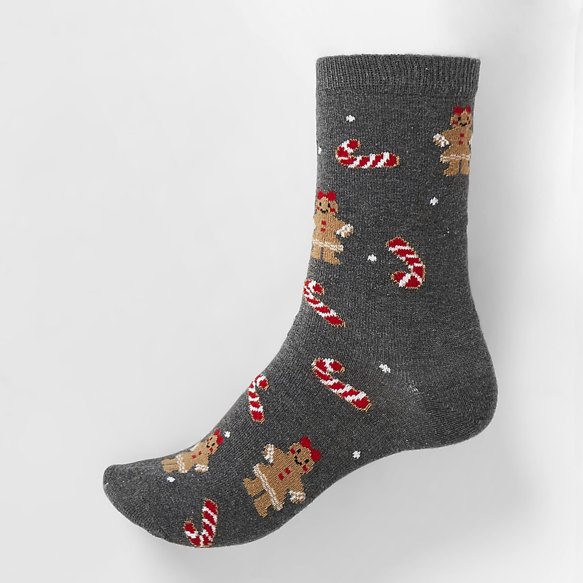 Grey gingerbead lady printed ankle socks