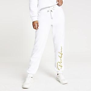Pantalon de jogging à broderie Prolific crème