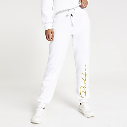 White Prolific embroidered joggers