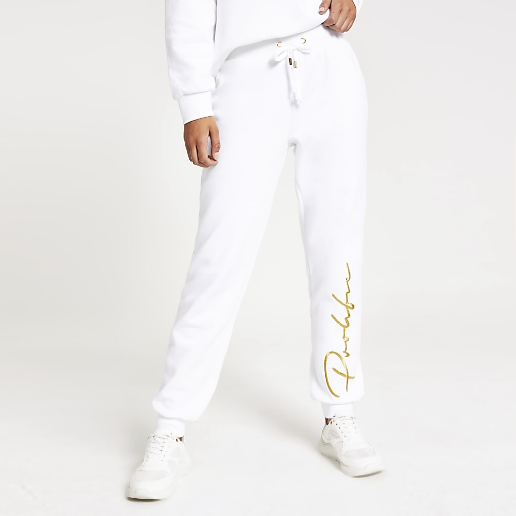 Prolific white embroidered joggers