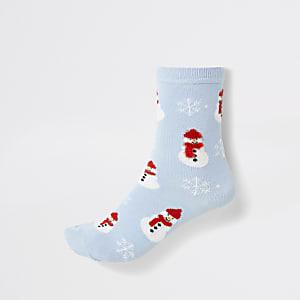 Blauwe enkelsokken met sneeuwpop print