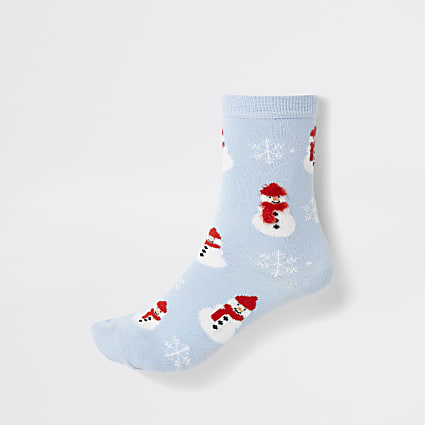 Blue snowman printed ankle socks