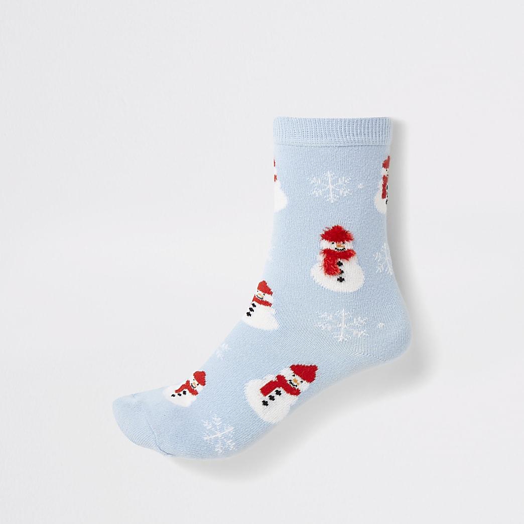 Blue snowman printed ankle socks