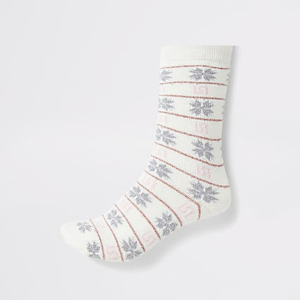 Cream fairisle RI printed slipper socks