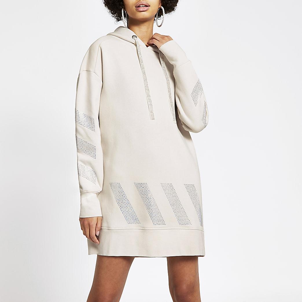 Crème lange hoodie verfraaid met siersteentjes
