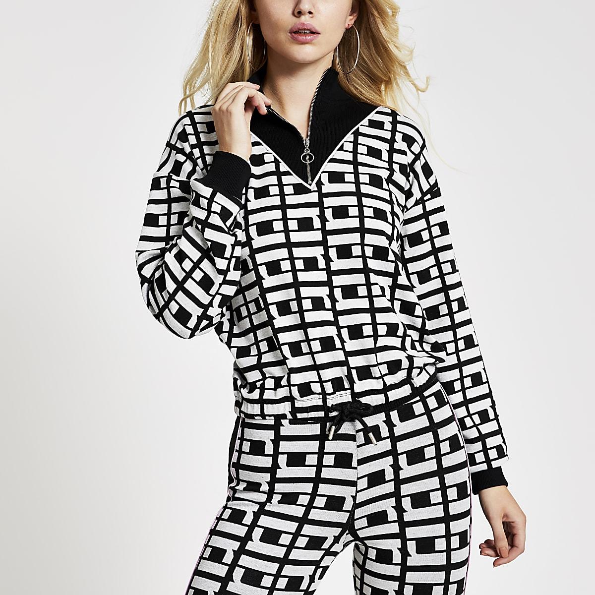 Black RI monogram half zip knit top