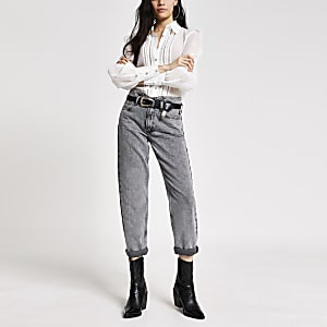 Graue Mom-Jeans mit hohem Bund im Acid-Washed-Look