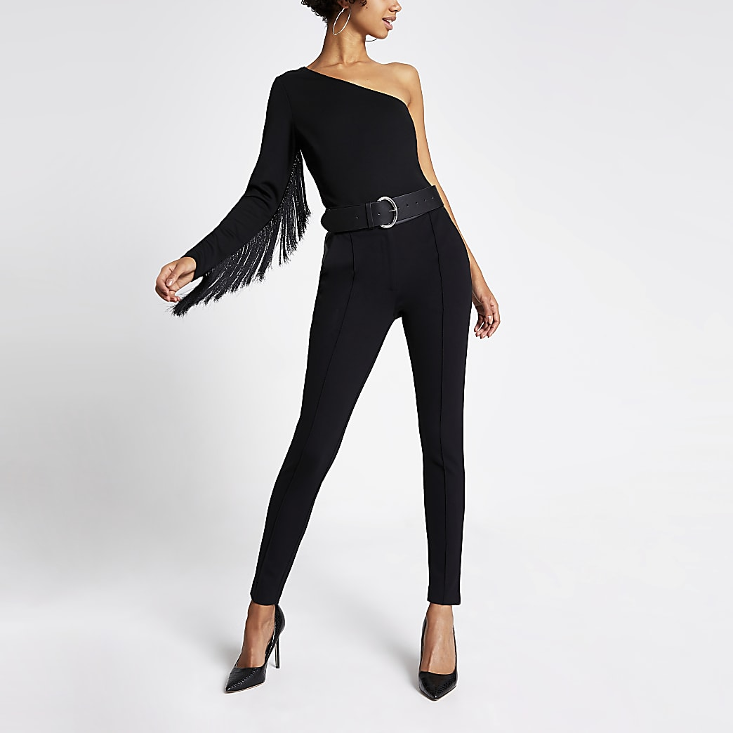 Black one shoulder fringe sleeve bodysuit