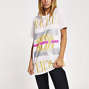 Beiges Boyfriend-T-Shirt mit Glitzeraufdruck