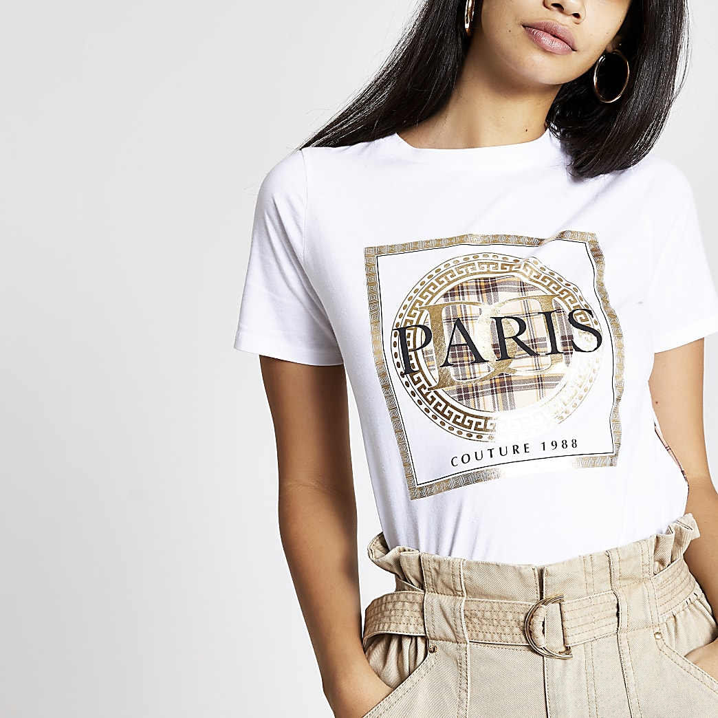 White 'Paris' check print T-shirt