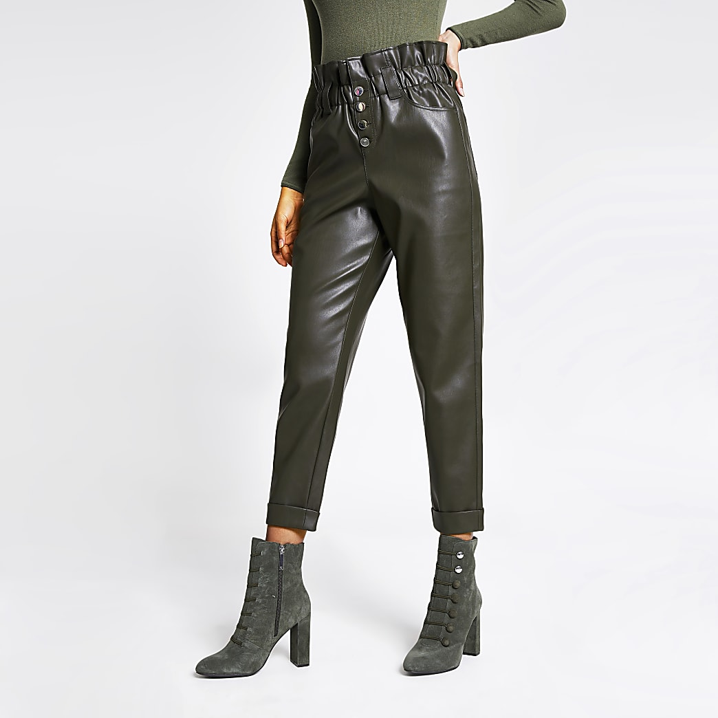 Khaki faux leather paperbag button trousers