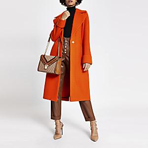 Lang geschnittener, einreihiger Mantel in Orange