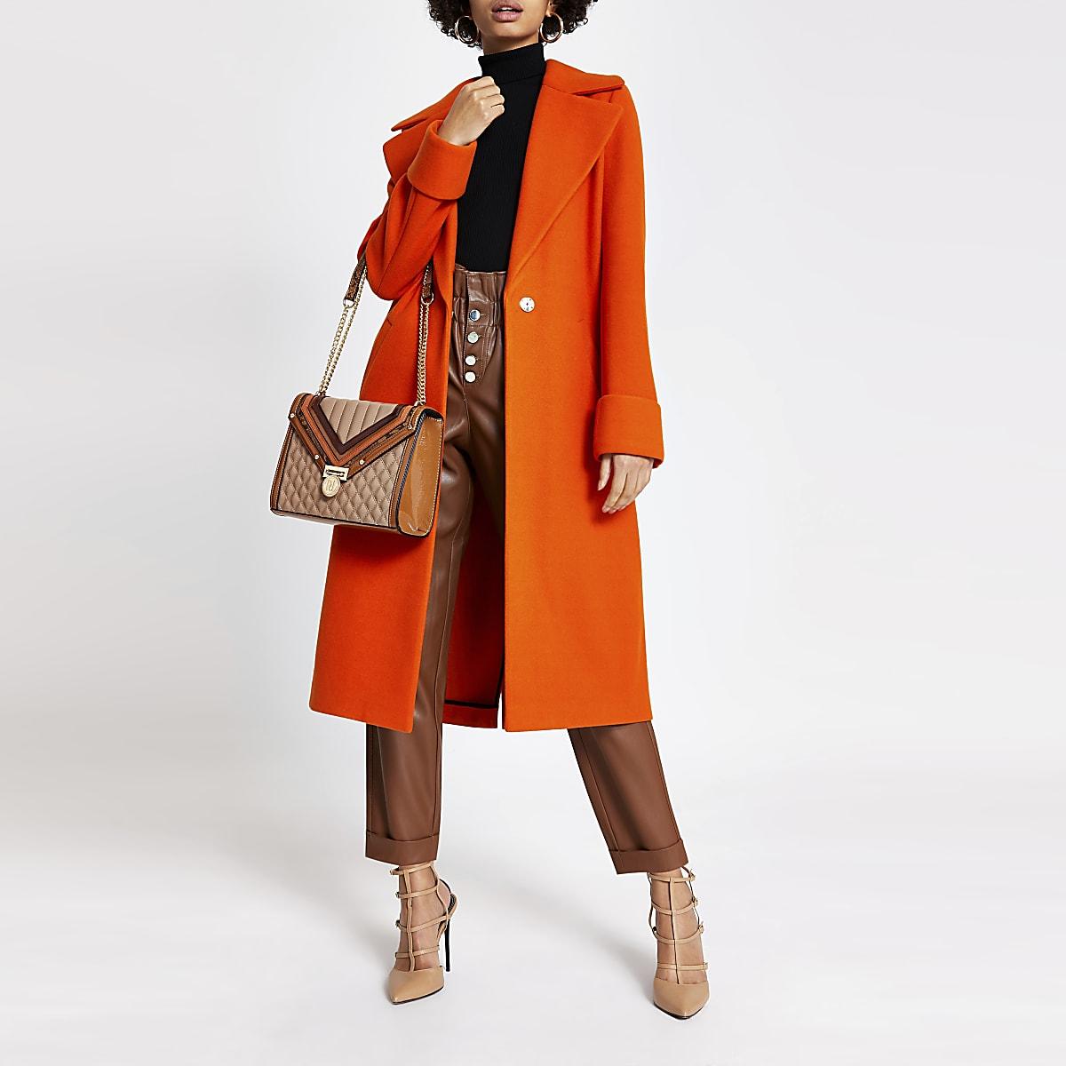 Orange longline single breasted coat