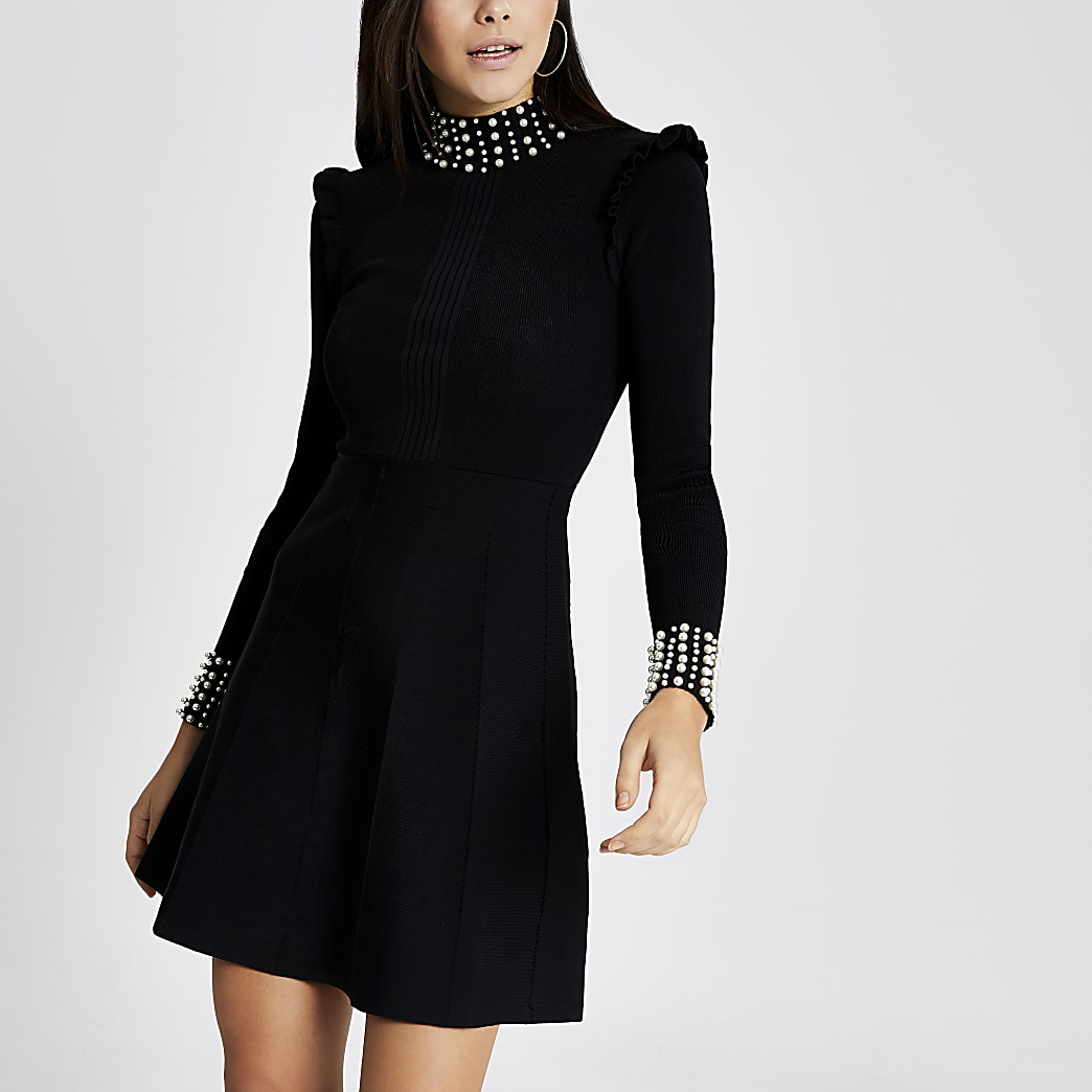 Black pearl embellished rib knitted dress