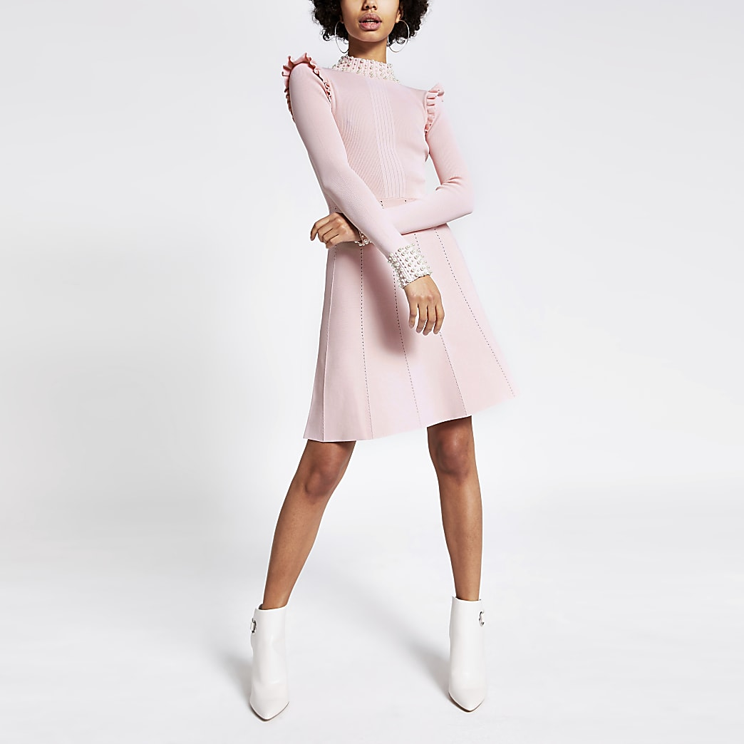 Pink pearl embellished rib knitted dress