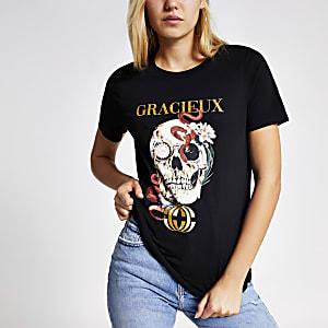 T-shirt «grâcieux» à imprimé tête de mort fleuri noir