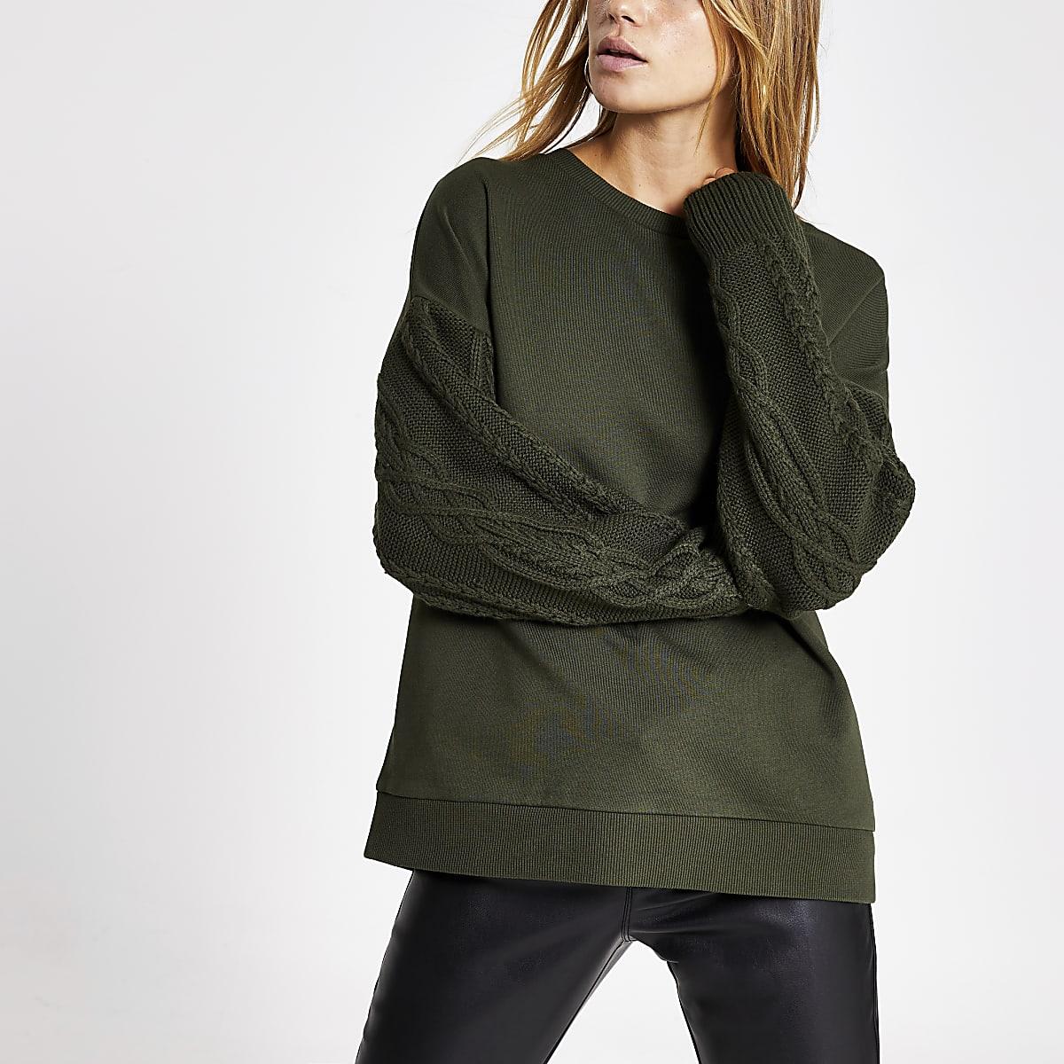 Khaki long cable knitted sleeve sweatshirt