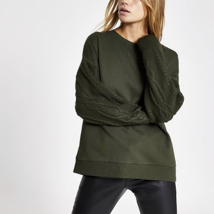 Khaki long cable knitted sleeve sweatshirt