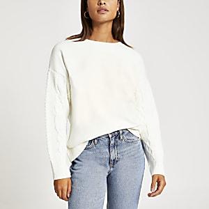 Cremefarbenes, langes Sweatshirt mit Strick-Zopfmuster am Ärmel