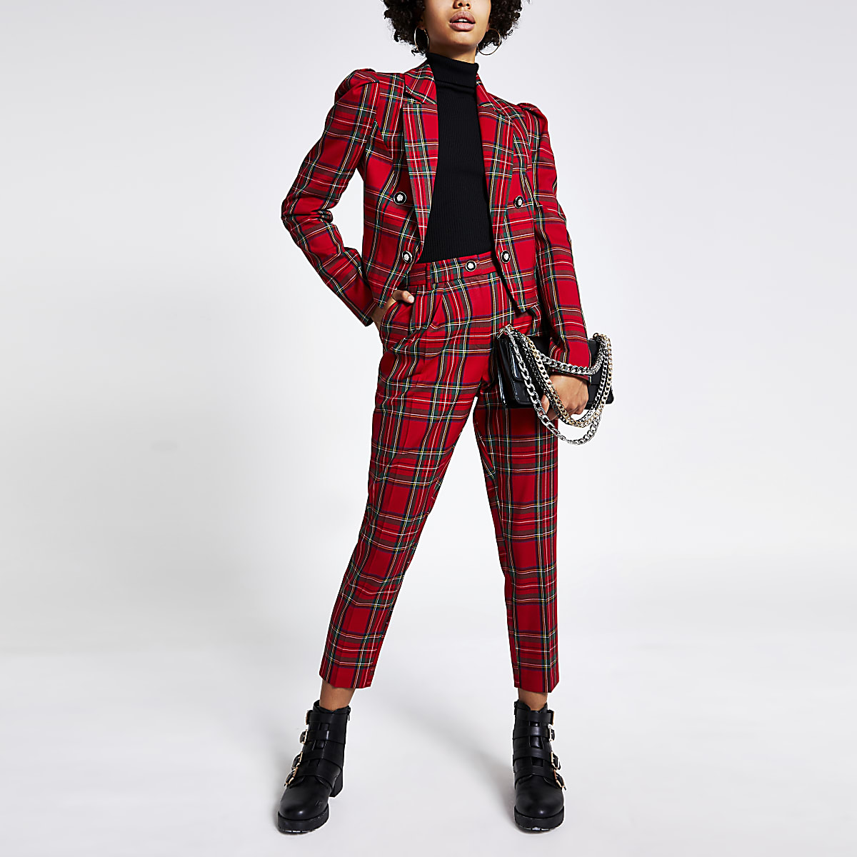 Red tartan puff sleeve cropped blazer