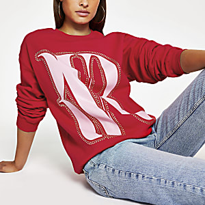 Red 'RVR' print oversized studded jumper