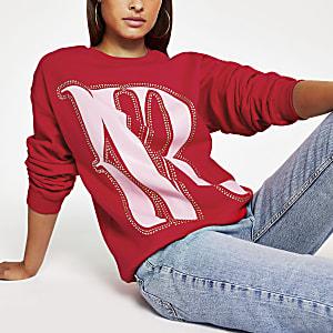 Pull oversize imprimé «RVR» rouge clouté