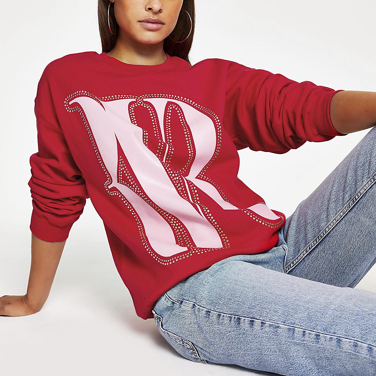 Rode oversized pullover met studs en RVR-print