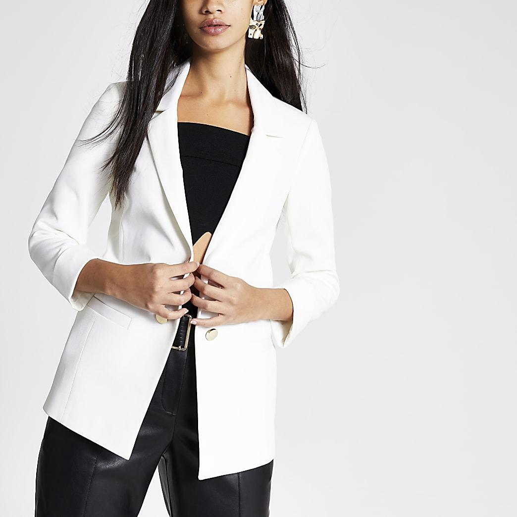 White turn up sleeve blazer