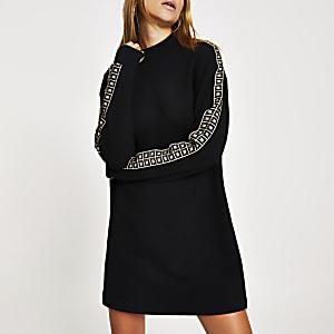 Zwarte sweatshirt-jurk met RI-diamant print