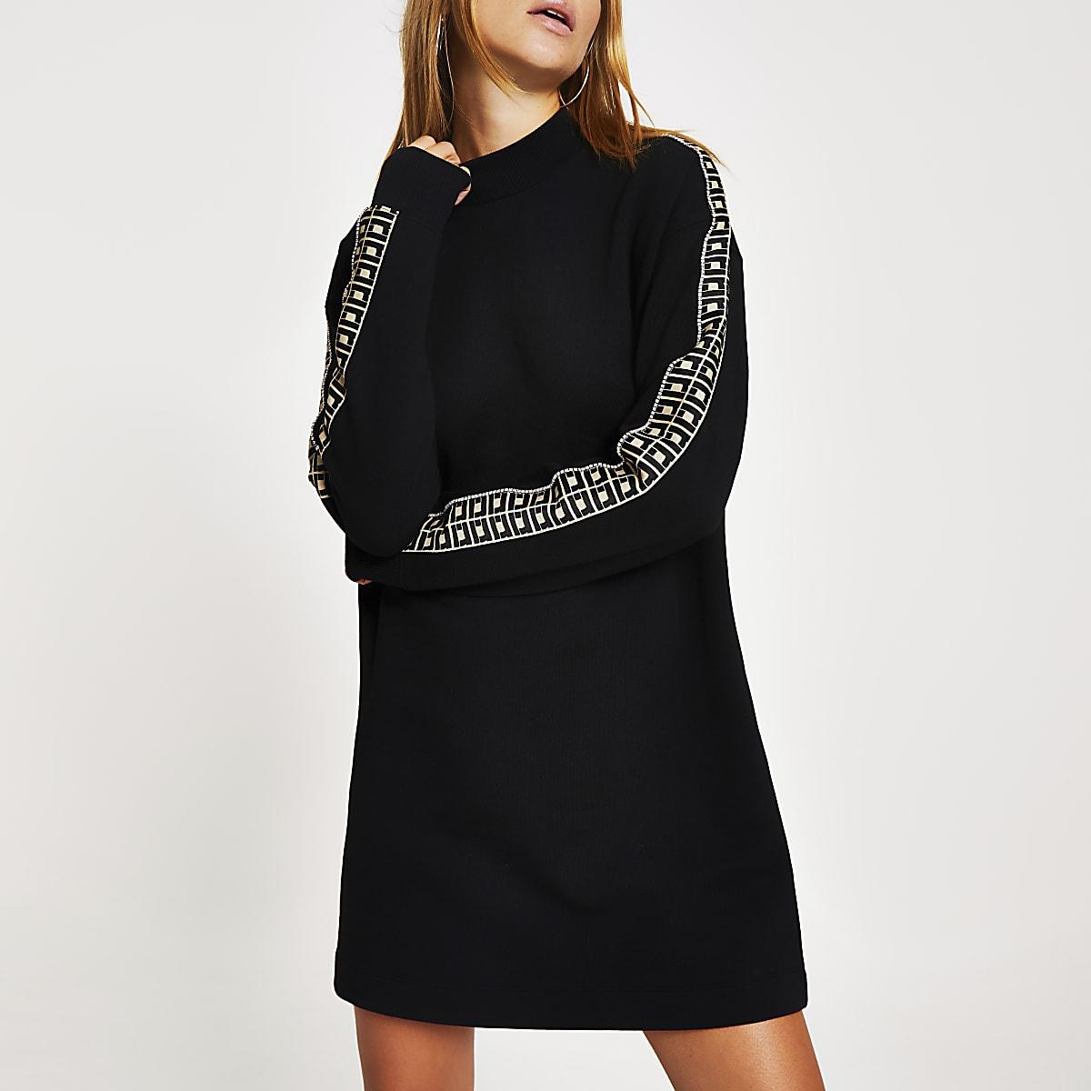Black RI diamante tape sweatshirt dress
