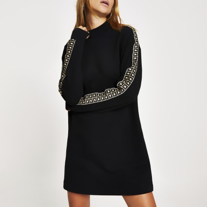 Black RI diamante tape sweatshirt dress
