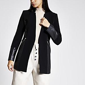 Schwarzer Blazer mit Colour-Block und Reißverschlusstasche