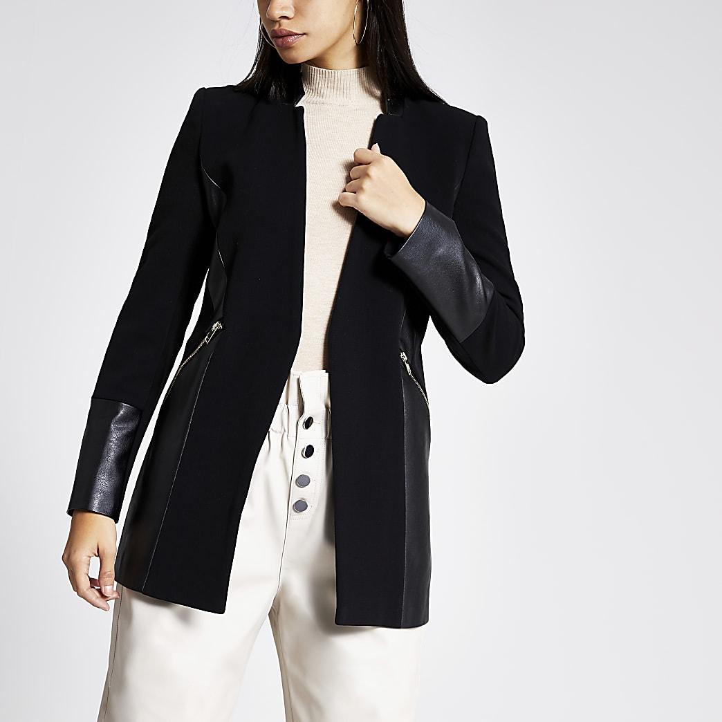 Black blocked panel zip pocket blazer