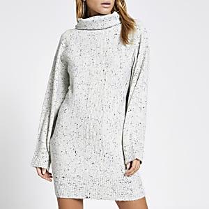 Grijze gespikkelde hoogsluitende trui-jurk