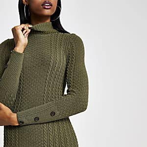 Khaki roll neck bodycon cable knitted dress