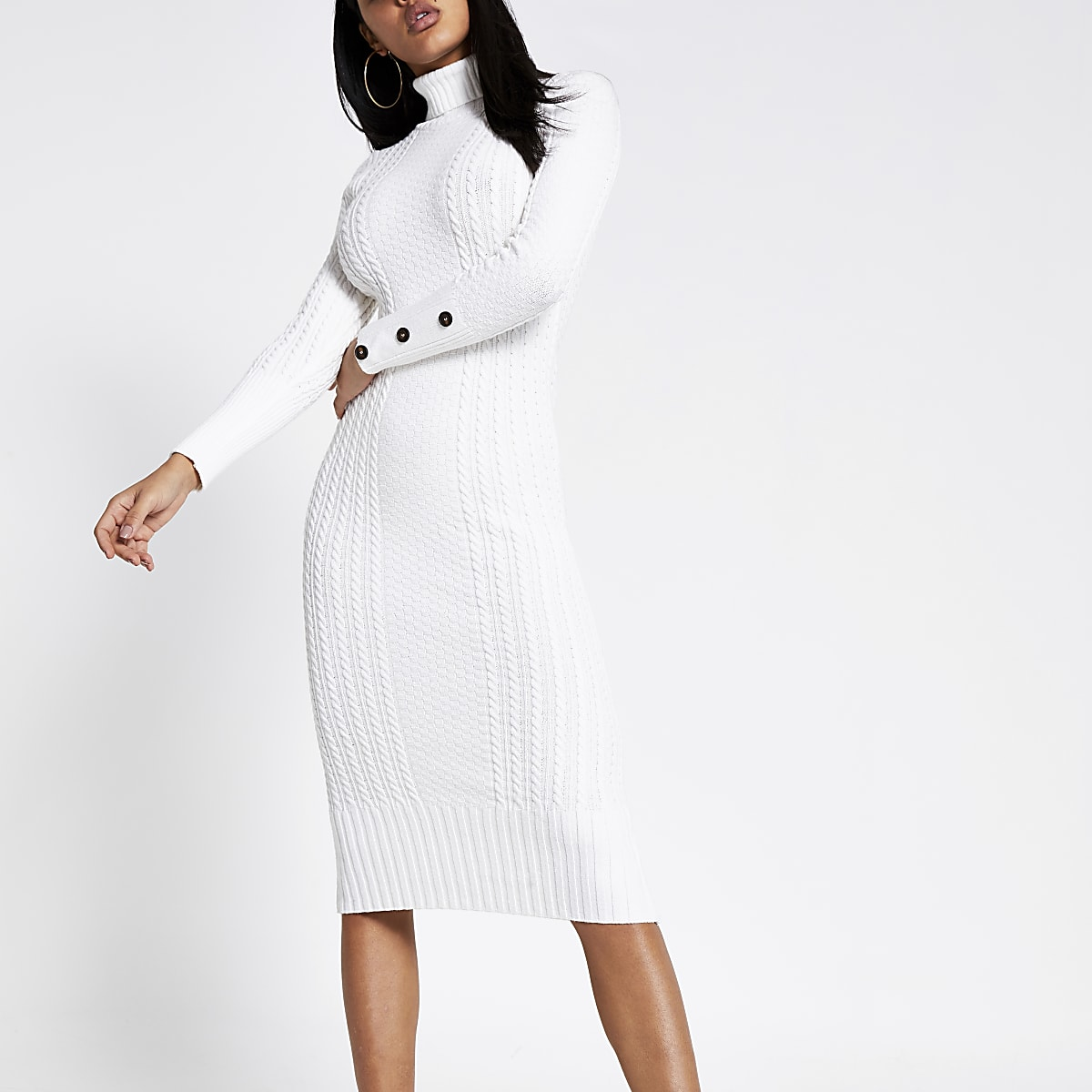 Cream roll neck cable knitted bodycon dress