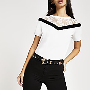 White chevron lace short sleeve T-shirt